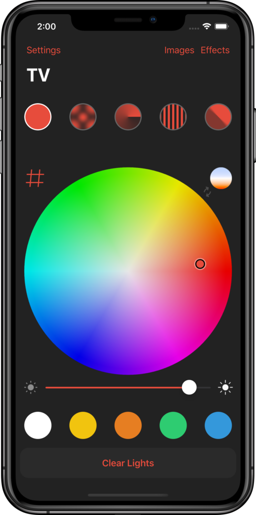 Remote control your Ambilight by using the intuitive color wheel, quick effects and favorite colors