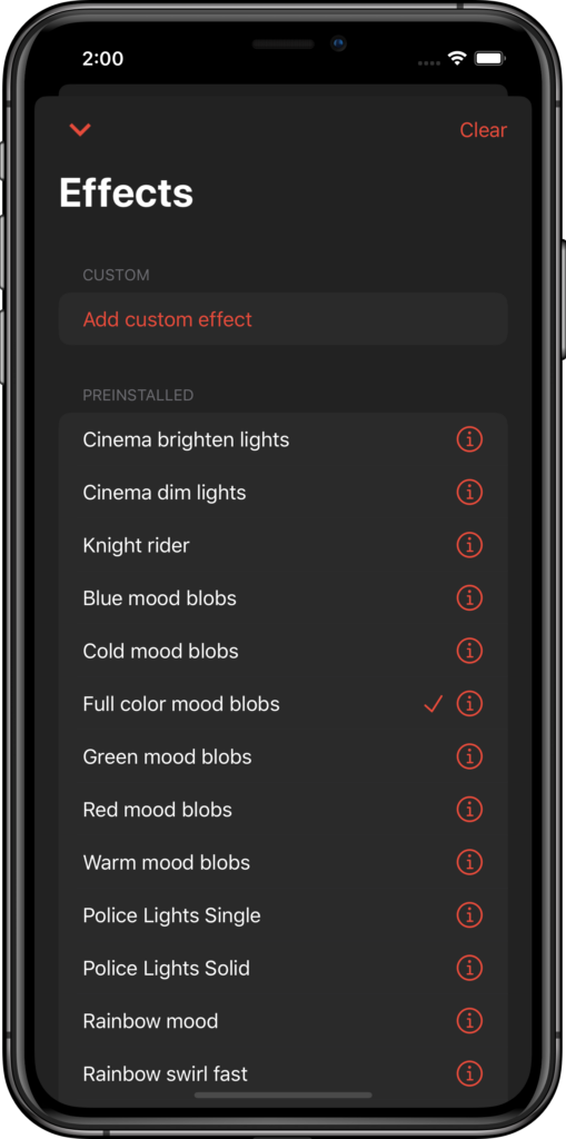 Use preinstalled effects to light up your room